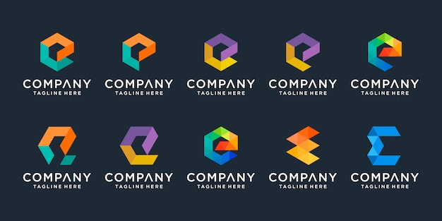 Набор творческого письма е логотип шаблонов. иконки для бизнеса цифровой, технологии, финансы, роскошь, элегантный, простой.