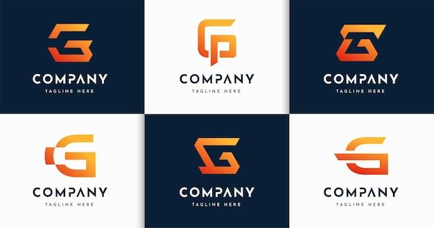 크리에이 티브 편지 g 모노그램 스타일 로고 디자인 서식 파일의 집합