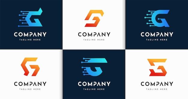 크리에이 티브 문자 g 기술 모노그램 스타일 로고 디자인 서식 파일 집합