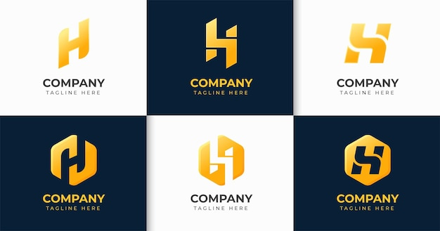 창조적 인 편지 h 로고 디자인 서식 파일 컬렉션 세트