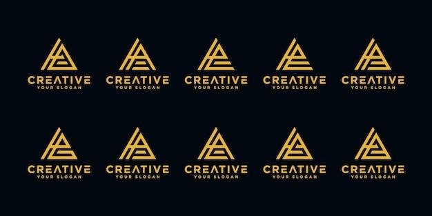 創造的な手紙hモノグラム抽象的なロゴデザインテンプレートのセット