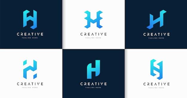 크리에이 티브 편지 h 모노그램 스타일 로고 디자인 서식 파일의 집합