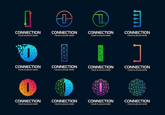Набор творческого письма i дизайн логотипа современных цифровых технологий