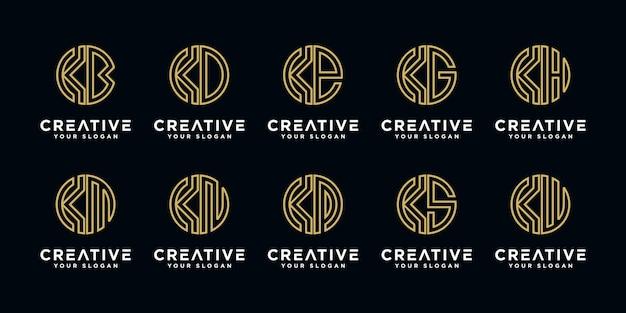 Набор креативных букв k и т.д. шаблон дизайна логотипа