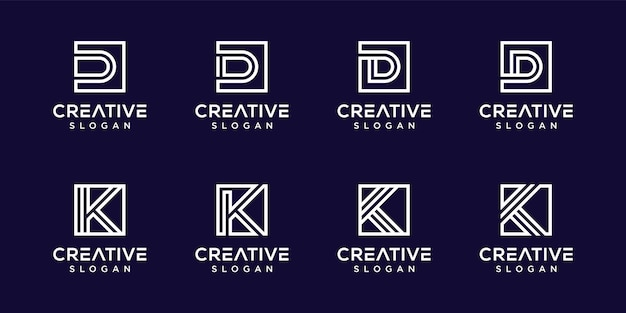 창조적 인 편지 k, d 모노그램 로고 세트