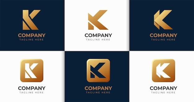 창조적 인 편지 k 로고 디자인 서식 파일 컬렉션 세트