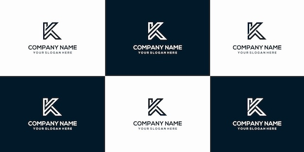 Набор креативных букв k логотип дизайн шаблона
