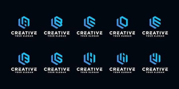 創造的な文字ロゴデザインテンプレートのセット。六角形のアートスタイル。