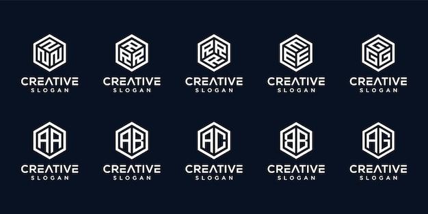 創造的な文字のロゴの六角形のセット