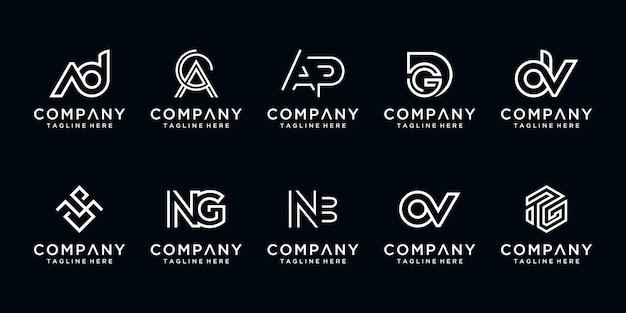 創造的な手紙のセットモノグラム抽象的なロゴデザインテンプレート