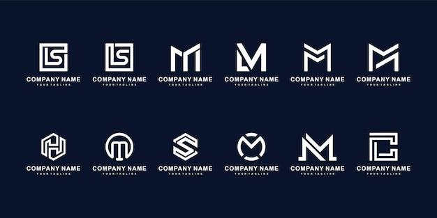 Набор творческих букв вензеля логотип