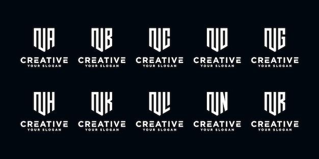 Набор творческих буквы n и шаблон логотипа etc. иконки для бизнеса финансов, консалтинг, простой.