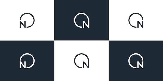 Набор креативных букв n логотип дизайн шаблона