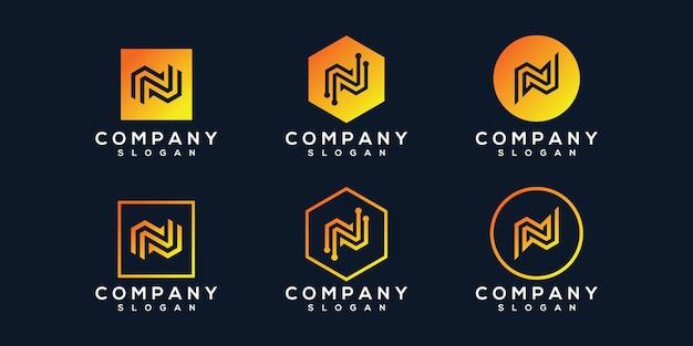 創造的な文字nロゴのセット