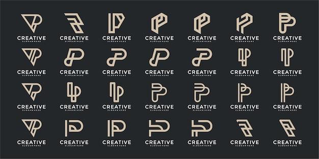 창조적 인 편지 p 로고 템플릿 집합