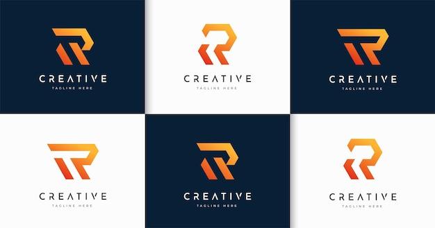 크리에이 티브 편지 r 모노그램 스타일 로고 디자인 서식 파일의 집합