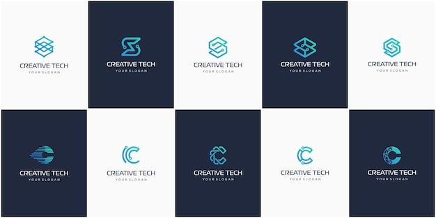 창조적 인 문자 s와 c, 현대 디지털 기술 로고의 집합입니다.