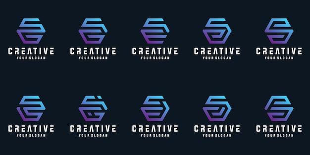 六角形のロゴのデザインコレクションとクリエイティブな文字のセット