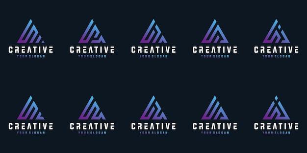 三角形のロゴのデザインコレクションとクリエイティブな文字のセット