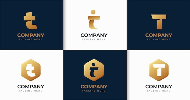 Набор творческих букв t логотип дизайн коллекции шаблонов