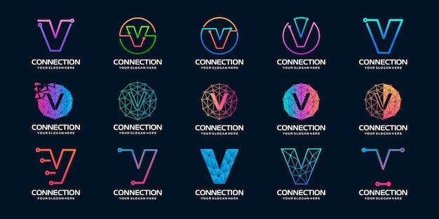 創造的な手紙v現代デジタルテクノロジーのロゴデザインのセットです。