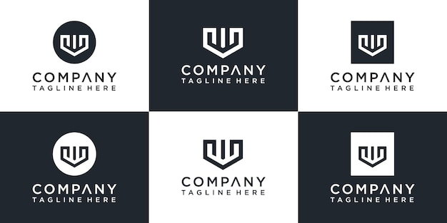 Набор креативных шаблонов логотипа буква w