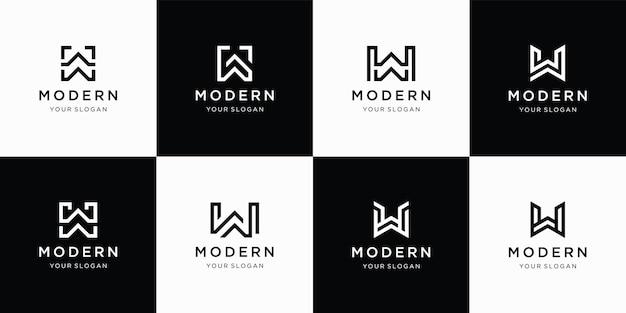 추상적 인 모양 로고 템플릿이있는 창조적 인 편지 w 로고 세트