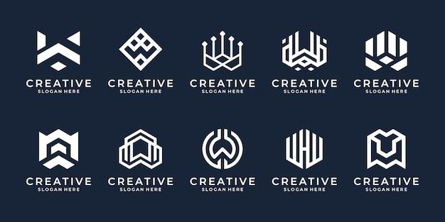 추상적인 모양 로고 템플릿이 있는 크리에이 티브 문자 w 기술 로고의 집합입니다.