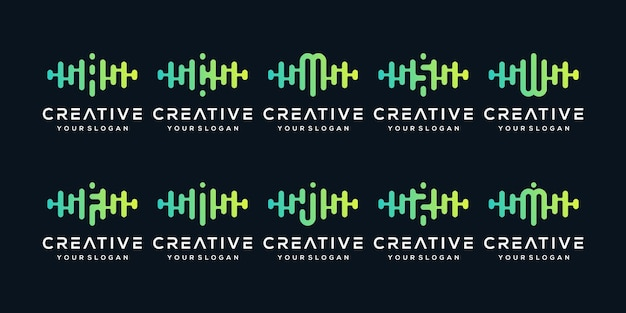 Набор творческого письма с пульсом. шаблон логотипа