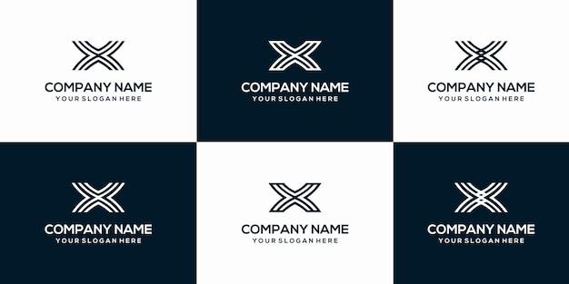創造的な手紙xロゴデザインテンプレートのセット