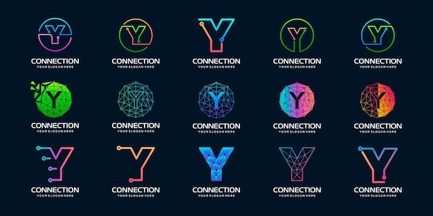 크리에이 티브 편지 y 현대 디지털 기술 로고 디자인의 세트