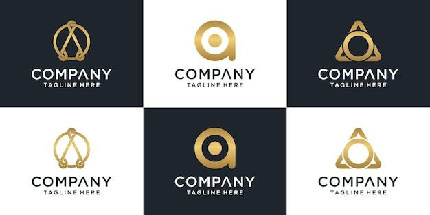 Набор творческих букв вензель письмо ао шаблон логотипа.