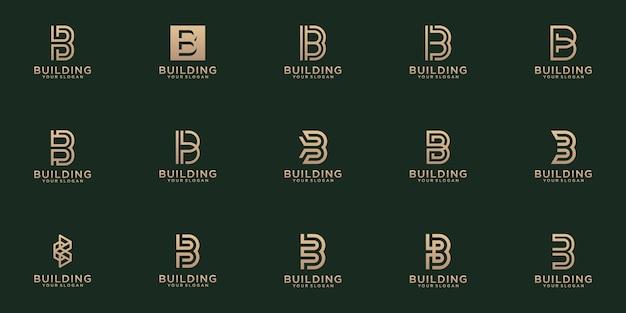 Набор творческих букв вензель буква b шаблон логотипа.