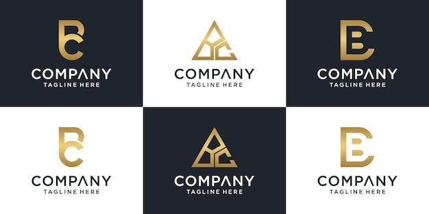Набор творческих букв монограммы письмо bc шаблон логотипа.