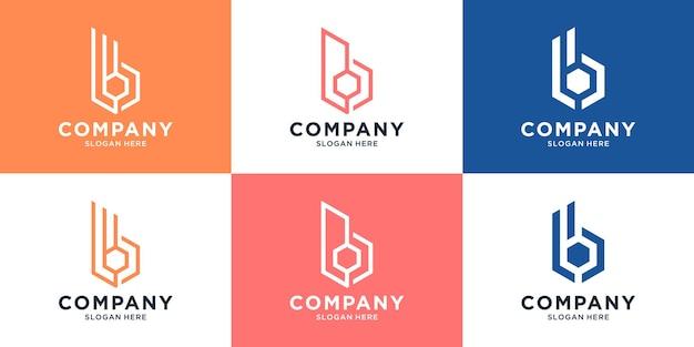 편지 로고 디자인 컬렉션이 있는 창의적인 로고 건물 건설 세트