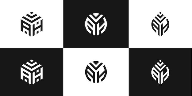 創造的なロゴデザインのセット