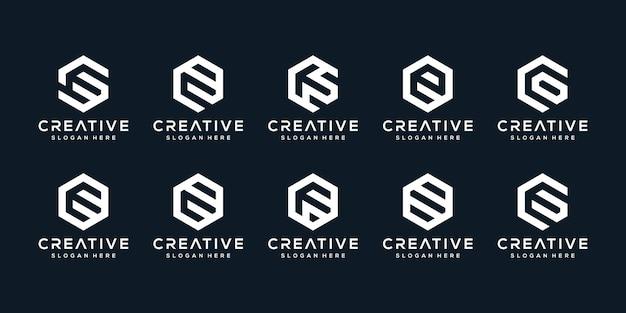 육각 스타일로 창조적 인 로고 문자 e 세트