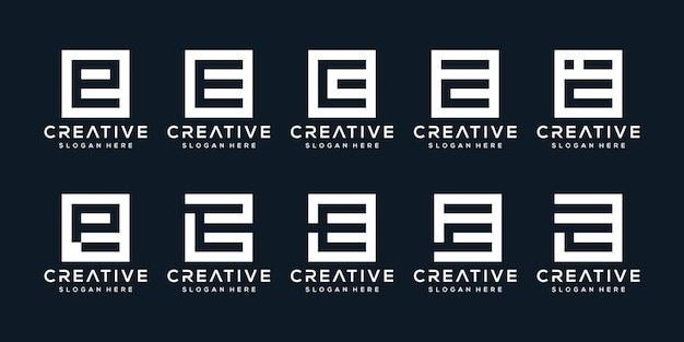 Набор творческих букв логотипа e с квадратным стилем