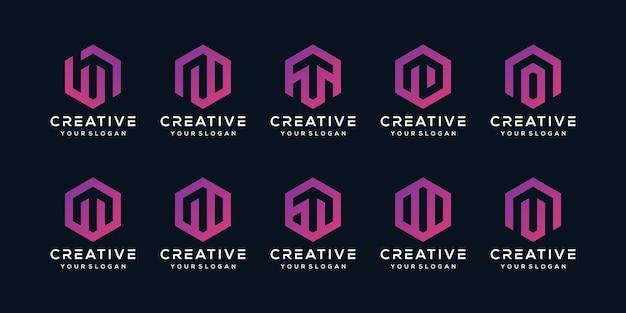 六角形スタイルのクリエイティブなロゴ文字mのセット