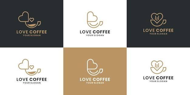 創造的な愛のコーヒー、コーヒーショップ、ロゴデザインベクトルのセット