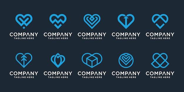 ラインアートデザインコレクションとクリエイティブな愛のロゴのセット