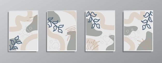 創造的なミニマリスト手描きヴィンテージニュートラルカラーイラストのセット
