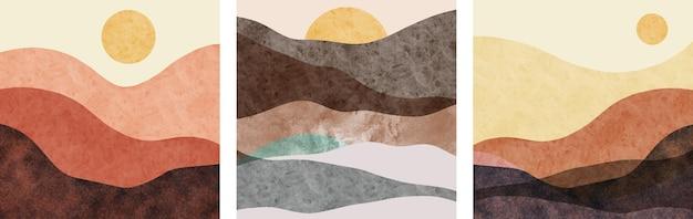 크리 에이 티브 미니멀 손으로 그린 세트. 추상 예술 배경입니다.