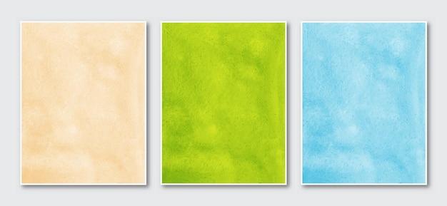 創造的なミニマリストの手描きの抽象的な水彩芸術の背景のセット。