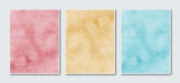 創造的なミニマリスト手描きの抽象的な水彩画の背景のセット