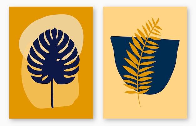 몬스테라 열대 잎과 추상 모양이 있는 독창적인 미니멀리스트 손으로 그린 커버 세트