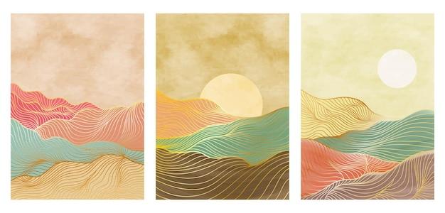 ミッドセンチュリーモダンの創造的なミニマリストの手描きイラストのセット。ラインアートプリント。抽象的な山の現代的な美的背景の風景。ベクトルイラスト