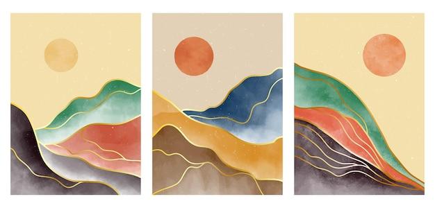 ミッドセンチュリーモダンの創造的なミニマリストの手描きイラストのセット。自然な抽象的な風景の背景。山、森、海、空、太陽、川