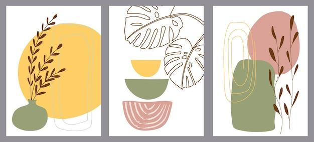 Набор креативных минималистских ручных иллюстраций с декоративными ветвями, листьями и пятнами