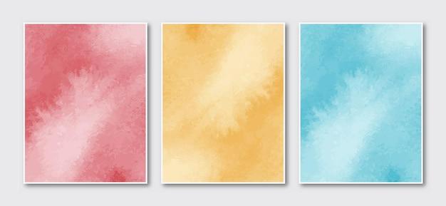 創造的なミニマリストの手描きの抽象的な水彩画の結婚式の招待カードのセット